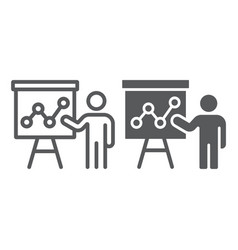 Presentation line and glyph icon education vector