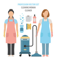 Profession and occupation set cleaning woman vector