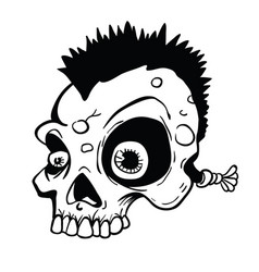 punk skull black and white vector image
