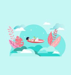 relax girl vacation sunbathes beach hot summer vector image