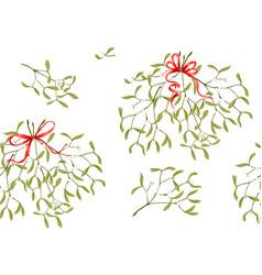 Seamless pattern mistletoe vector