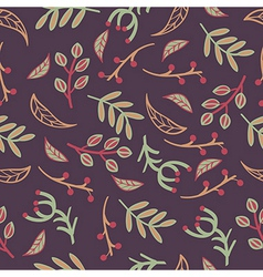 seamless pattern with leaves branches laurels vector image