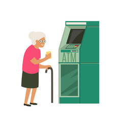 Senior withdrawing money from credit card at atm vector