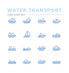 Set color line icons water transport vector