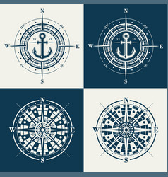 set compass roses or wind roses vector image