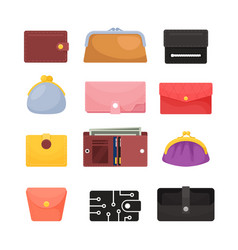 Set icons wallets different purses male vector