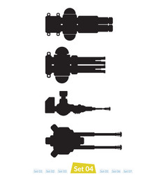 Set of spaceship weapons silhouette four vector