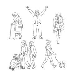 set of walking people in vector image