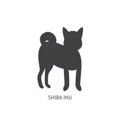 shiba inu breed dog or puppy black silhouette vector image