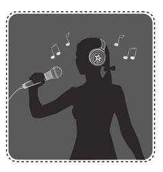 Silhouette avatar girl singer vector