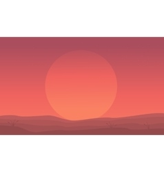 Silhouette of hill and big sun scenery vector