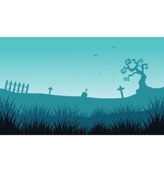 Silhouette of tomb and fog Halloween backgrounds vector