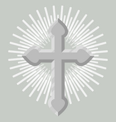 silver catholic crucifix icon isolated vector image