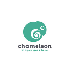 simple green chameleon logo icon template vector image