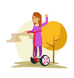 Smiling young woman riding hover board in the park vector