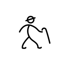 Stick man with cane figure man hand drawn vector