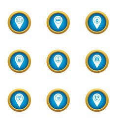 Target designator icons set flat style vector