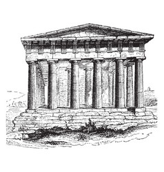 Temple of theseus at athens of hephaestus vector