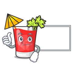 thumbs up with board bloody mary character cartoon vector image