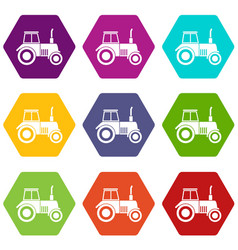 tractor icon set color hexahedron vector image