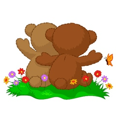 Two teddy bears cartoon sitting in the garden with vector image