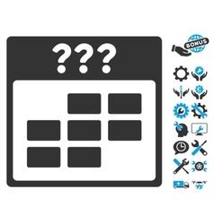 Unknown Month Calendar Grid Icon With Bonus vector
