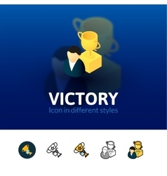 Victory icon in different style vector image