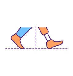 Walking stability with prosthesis rgb color icon vector
