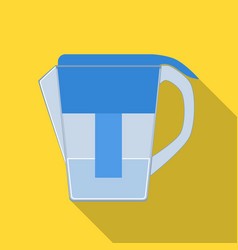 Water jug with filter cartridge icon in flate vector