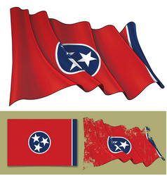waving flag of the state of tennessee vector image