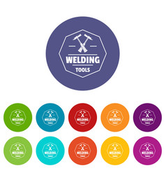 Welding work icons set color vector