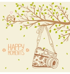 camera and tree vector image vector image