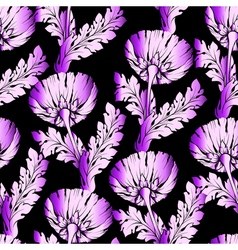 Garden flowers on black Seamless hand-painted soft vector image vector image