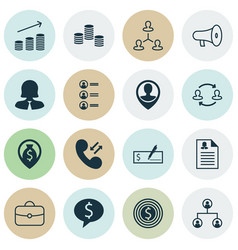 management icons set collection of bullhorn call vector image