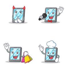 set of tablet character with devil karaoke vector image