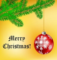 Christmas frame with ball and pine branch vector image vector image