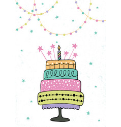 cute happy birthday card with cake and candles vector image