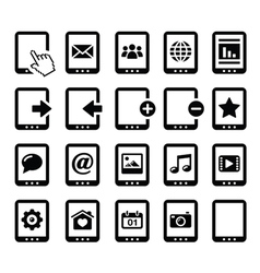 Tablet balck icons set with reflections vector image