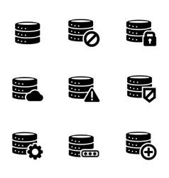 Black database icon set vector