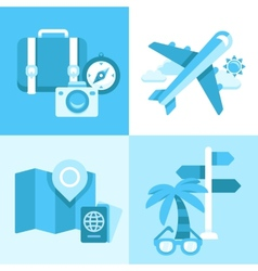 Flat icon set of travel symbols vector image vector image