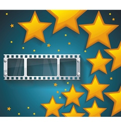 Old Cinema banner with gold stars and film tape vector image vector image