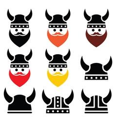 Viking warrior in helmet icons set vector