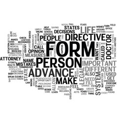 advance directive form text word cloud concept vector image vector image