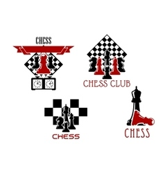 Chess club and tournament symbols vector image vector image