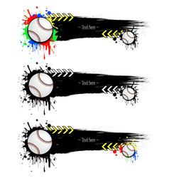 set grunge banners with blots and baseball balls vector image