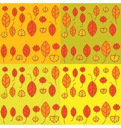 Set of seamless pattern with leaves vector image vector image