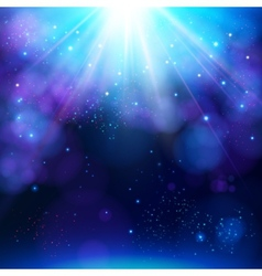 Sparkling blue festive star burst background vector image