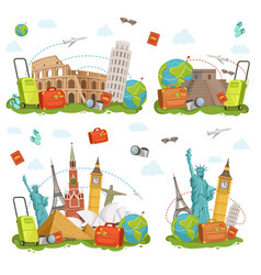 travel icons and different landmarks famous world vector image
