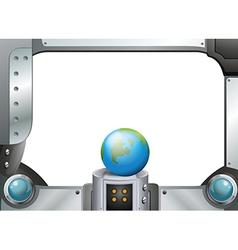 A globe in a metallic frame vector