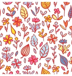 Abstract flowers and leaves seamless pattern vector